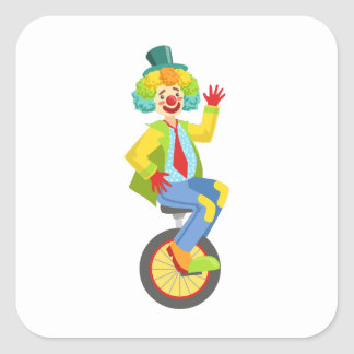 Colorful Friendly Clown With Rainbow Wig In Classi Square Sticker