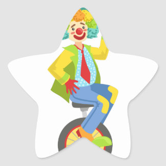 Colorful Friendly Clown With Rainbow Wig In Classi Star Sticker