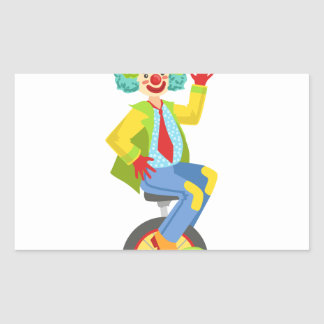 Colorful Friendly Clown With Rainbow Wig In Classi Sticker