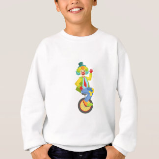 Colorful Friendly Clown With Rainbow Wig In Classi Sweatshirt