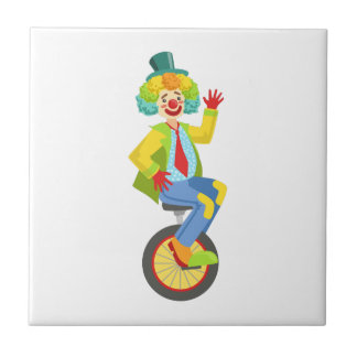 Colorful Friendly Clown With Rainbow Wig In Classi Tile