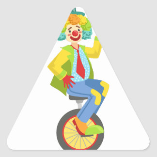 Colorful Friendly Clown With Rainbow Wig In Classi Triangle Sticker