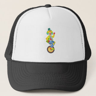 Colorful Friendly Clown With Rainbow Wig In Classi Trucker Hat