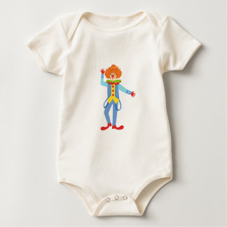 Colorful Friendly Clown With Suspenders In Classic Baby Bodysuit