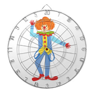Colorful Friendly Clown With Suspenders In Classic Dartboard