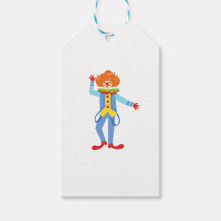 Colorful Friendly Clown With Suspenders In Classic Gift Tags