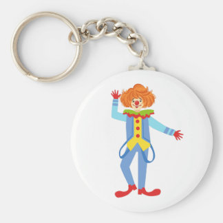 Colorful Friendly Clown With Suspenders In Classic Keychain