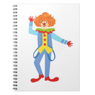 Colorful Friendly Clown With Suspenders In Classic Notebook