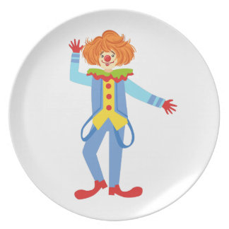 Colorful Friendly Clown With Suspenders In Classic Plate