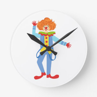 Colorful Friendly Clown With Suspenders In Classic Round Clock