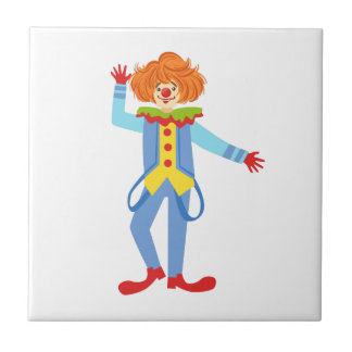 Colorful Friendly Clown With Suspenders In Classic Tile