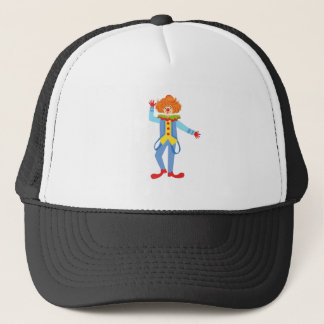Colorful Friendly Clown With Suspenders In Classic Trucker Hat