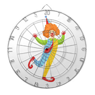 Colorful Friendly Clown With Tie In Classic Outfit Dartboard