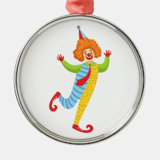 Colorful Friendly Clown With Tie In Classic Outfit Metal Ornament