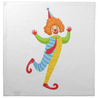 Colorful Friendly Clown With Tie In Classic Outfit Napkin