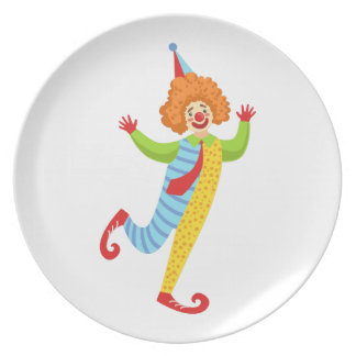 Colorful Friendly Clown With Tie In Classic Outfit Plate