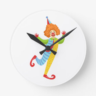 Colorful Friendly Clown With Tie In Classic Outfit Round Clock