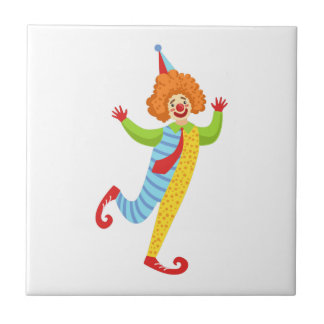 Colorful Friendly Clown With Tie In Classic Outfit Tile