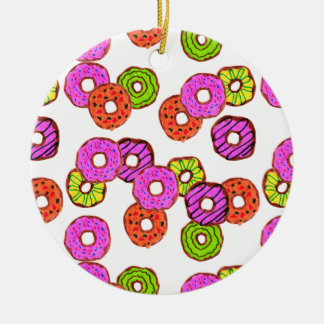 colorful frosted donuts doughnut with sprinkles ceramic ornament