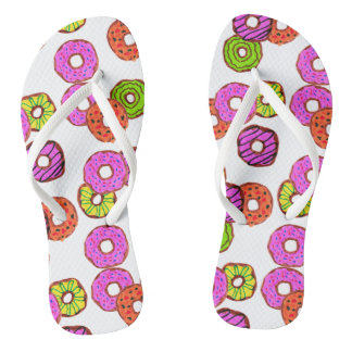 colorful frosted donuts doughnut with sprinkles flip flops