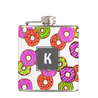 colorful frosted donuts doughnut with sprinkles hip flask