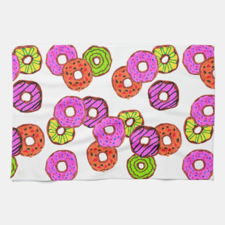 colorful frosted donuts doughnut with sprinkles kitchen towel
