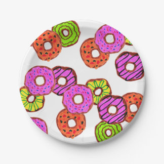 colorful frosted donuts doughnut with sprinkles paper plate