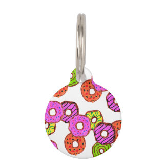 colorful frosted donuts doughnut with sprinkles pet ID tag