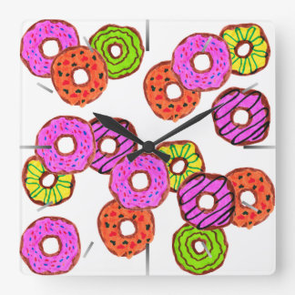 colorful frosted donuts doughnut with sprinkles square wall clock