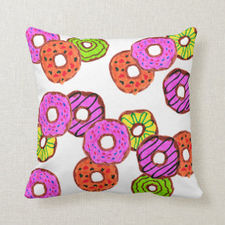 colorful frosted donuts doughnut with sprinkles throw pillow