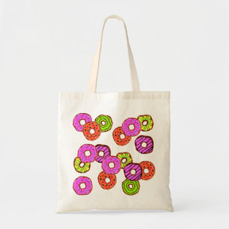 colorful frosted donuts doughnut with sprinkles tote bag