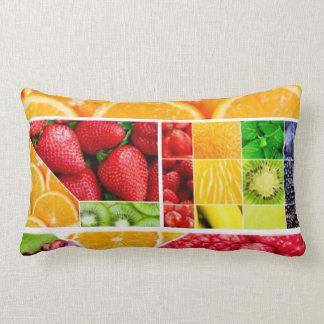 Colorful Fruit Collage Lumbar Pillow