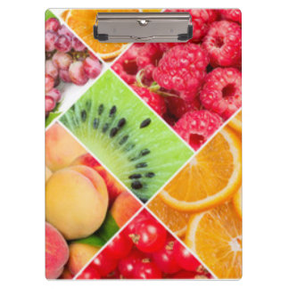 Colorful Fruit Collage Pattern Design Clipboard