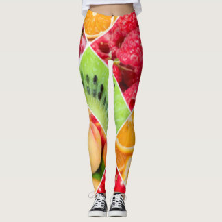 Colorful Fruit Collage Pattern Design Leggings