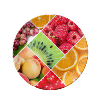 Colorful Fruit Collage Pattern Design Plate