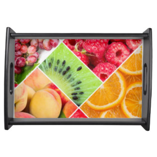 Colorful Fruit Collage Pattern Design Serving Tray