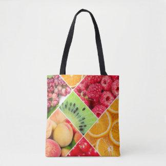 Colorful Fruit Collage Pattern Design Tote Bag