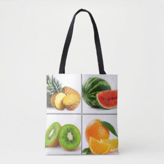 Colorful Fruit Collage Tote Bag