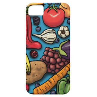 Colorful Fruits and Vegetables on Blue iPhone 5 Cases