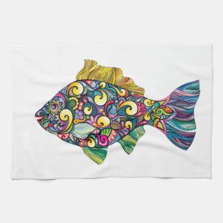 Colorful fun fish kitchen towel
