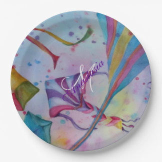 COLORFUL FUN FLYING KITES MONOGRAM PARTY PAPER PLATE