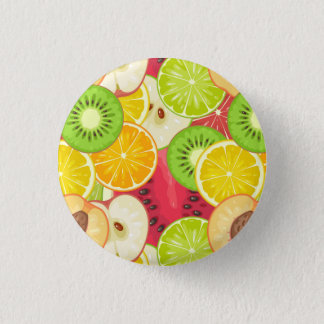 Colorful Fun Fruit Pattern 1 Inch Round Button