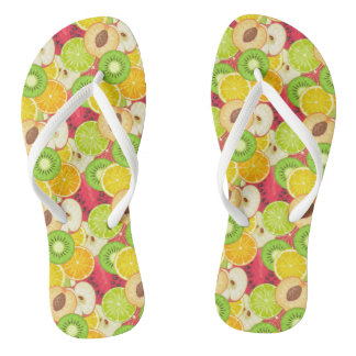 Colorful Fun Fruit Pattern Flip Flops