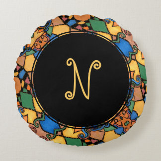 Colorful Funky Abstract Pattern Monogram Letter Round Pillow