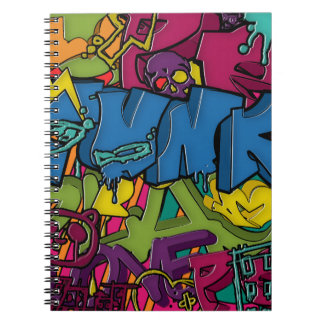Colorful, funky and Urban Graffiti art Spiral Note Books