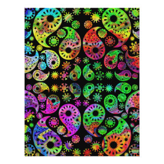 Colorful Funky Paisley Pattern Flyers