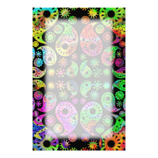 Colorful Funky Paisley Pattern Stationery Design