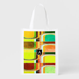 Colorful Funky Retro Inspired Reusable Grocery Bag