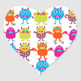 Colorful Funny Monster Party Creatures Bash Heart Sticker