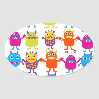 Colorful Funny Monster Party Creatures Bash Oval Sticker